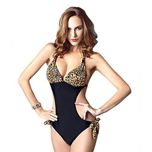 Lath.pin donna costume mare intero halter string bikini push up sexy costume da bagno trikini costumi da spiaggia stampa leopardato (l, nero-leopardato)