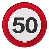 8 Teller * 50. GEBURTSTAG * mit Verkehrsschild-Design // Set Plates Pappteller Partyteller Jubiläum Fünfzig Jahre