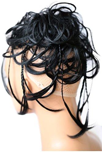PRETTYSHOP XXL Haarteil Haargummi Hochsteckfrisuren, Brautfrisuren, VOLUMINÖS, gewellter unordentlicher Dutt schwarz #1 G1D