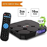 Android TV Box 7.1 Amlogic 64 Bits Bluetooth Réel 4K*2K 3D, 2GB RAM 16GB ROM 2018 Smart Box Quad Core, WiFi 2.4Ghz ABOX A1 Max