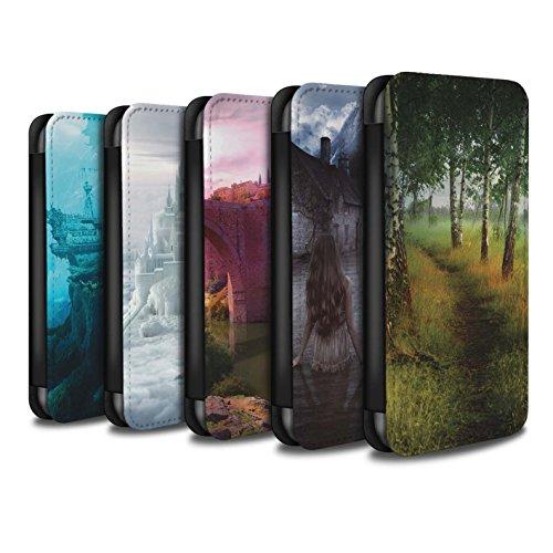 Officiel Elena Dudina Coque/Etui/Housse Cuir PU Case/Cover pour Apple iPhone 8 / Ville dans Arbres Design / Fantaisie Paysage Collection Pack 17pcs