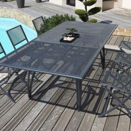 Table 180/240 cm avec rallonge papillon, en alu perforé + 6 Chaises pliantes - GRIS ANTHRACITE