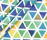 0,5m Jersey Watercolor Triangles - grün/gelb - by Living