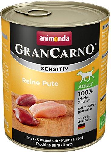 animonda GranCarno Hundefutter Adult Sensitiv, Nassfutter für ausgewachsene Hunde, Reine Pute, 6 x 800 g