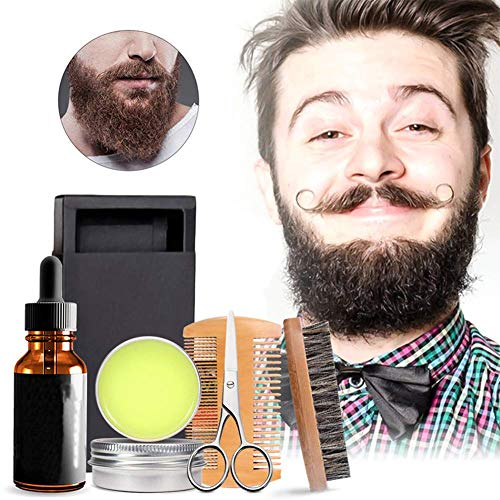 Grooming Wax (CWeep Beard Kit for Men,Beard Growth Grooming Trimming Tool Best Mustache Conditioner Care Oil Grooming Balm Butter Wax Brush (5pcs/Set))