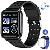 ANCwear Fitness Trackers Bluetooth Smart Watches with Heart Monitor and Blood Pressure, Waterproof Activity Trackers with Sleep Monitor & SMS Call Notification, Pedometer Watch for Men Women Kids