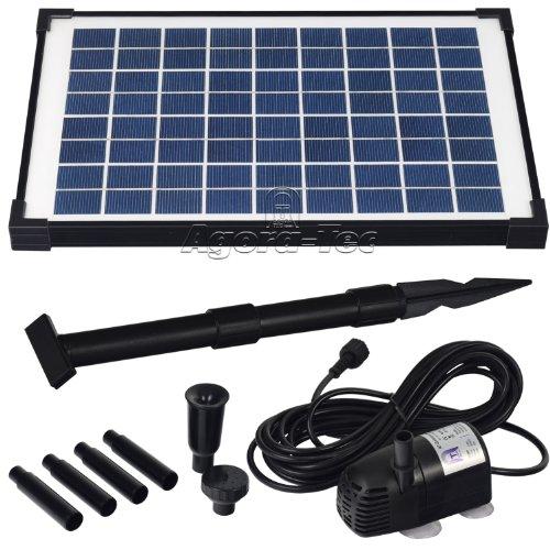 Agora-Tec® AT-10W Solar Teichpumpe 10 Watt, Hmax.: 600l/h Fontainenhöhe: 1,00m für Gartenteich oder Springbrunnen
