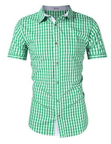 KoJooin Trachten Herren Hemd Trachtenhemd Langarmhemd Freizeithemd Baumwolle - für Oktoberfest, Business, Freizeit (S / 34, Grün1)