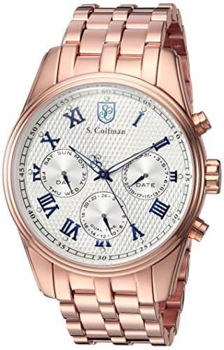 S. Coifman Men's 'Heritage' Quartz and Stainless Steel Casual Watch, Color:Rose Gold-Toned (Model: SC0406)