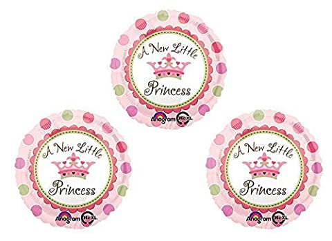 """A New Little Princess 18"""" Round Mylar Balloon 3pk by Anagram"""