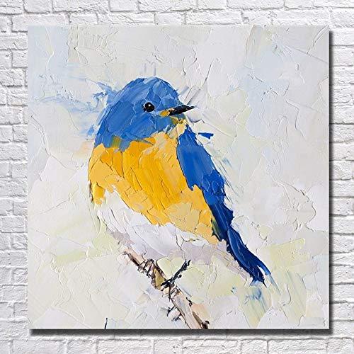 WSKYOUHUA Handgemalte Leinwand Bilder,Hand Ölgemälde Auf Leinwand Reproduktion Abstrakter Moderner Blue Bird Zeichnung Home Office Einrichtung Keine Gerahmt,140×140 cm Rahmenloser Gezeichnet