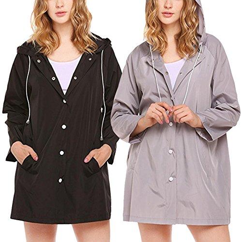 iBaste Femmes Coupe-Vent Solide Couleur Imperméable Vêtements Coupe-Vent Veste avec chapeau Imperméable Léger Gris