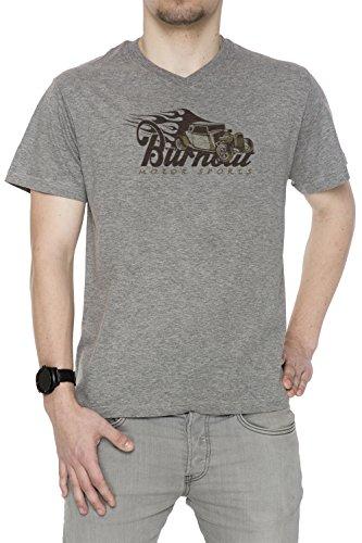 Burnout Motorsports Uomo V-Collo T-shirt Grigio Cotone Maniche Corte Grey Men's V-neck T-shirt