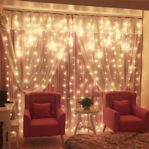 Vorhang-mini-leuchten (Zimmer deko Lampe_LED-Lampe string Eis strip Lampe Vorhang lampe Mädchen herzen Zimmer romantische Stern, 3 * 1 Meter warme Farbe)