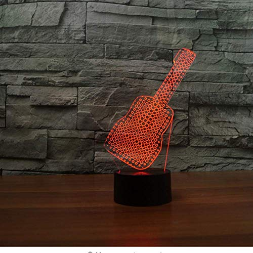 7 Farben Wechselndes Nachtlicht Usb 3D Entertainment Neuheit Gitarrenform Tischlampe Led Schlafzimmer Schlaf Dekor Geburtstag