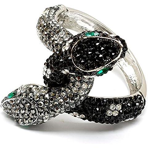 Cristallo tono nero serpente braccialetto moda donna