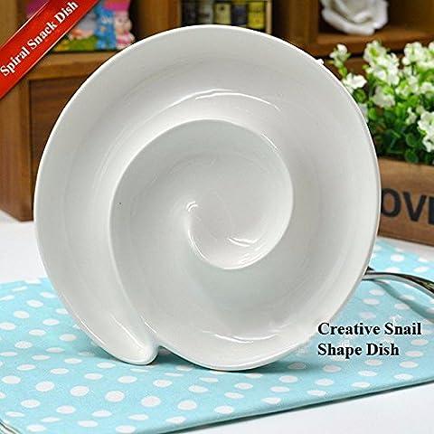 Aliciashouse Espiral de cerámica creativa aperitivo plato desayuno pan plato plato