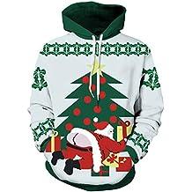 Unisex Sudaderas con Capucha Navidad de 3D Impreso Pareja Suéter Cuello Redondo de Mangas Largas Camisa