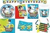Piraten Schatzsuche 53-teiliges Kindergeburtstag Party Deko Set Premium Motto Fete Feier 8 Teller, 8 Becher, 20 Servietten, Tischdecke, 6 Einladungskarten, 6 Partytüten, 1 Partykette, 3 Rollen Luftschlangen