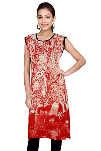 Kurti Studio Festive Red White Unstitched Cotton Kurti Dress Material