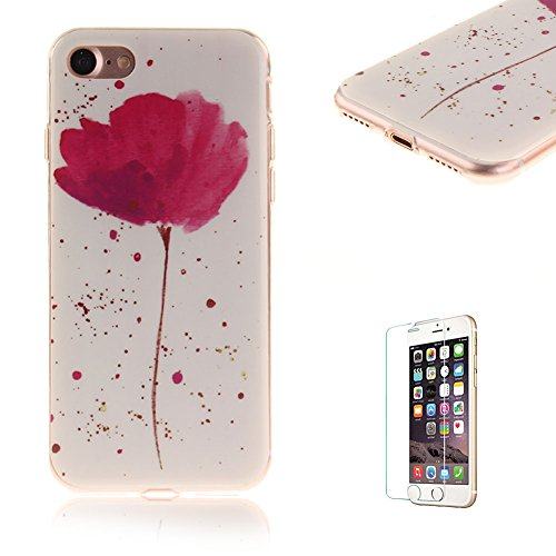 Custodia per iphone 7 Cover Silicone Morbida,Funyye Sottile Protettiva Casa Gomma TPU Gel Copertura con [Pellicola Protettiva] Slim Thin Soft Bumper Shell Skin per Apple iphone 7 4.7Pollici Cover e Pe Design #9