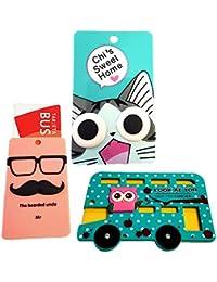 ZARAPOP - Llavero – Tarjeta – Bus – crédito – Club – Pack 3 Unidades. Incluye Bus Buho, Mustache, Gato.