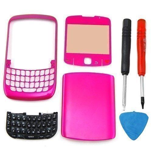 Accessotech Gehäuse-Set für BlackBerry Curve 8520 (Gehäuse für Vorder- und Rückseite, Tastatur, inklusive Werkzeuge), Rosa (Blackberry 8520 Gehäuse)