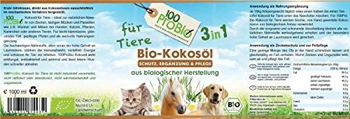 Kokosöl für Tiere 1000ml -ein natürlich wirksamer Schutz gegen Zecken, Milben, Parasiten & Fellpflege ohne Chemie - 4
