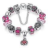 """A TE® Bracciale Charms """"Fiore"""" di Vetro Cristalli Smalto Catena Sicurezza Regalo Donna #JW-B109 (Rosso)"""