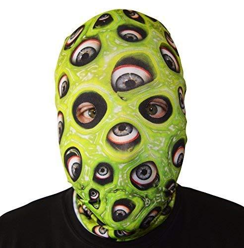 GNS 3D Effekt Auge Demon Slime Grün Gesicht Haut Sensenmann Halloween Horror Maske hergestellt in Yorkshire ()