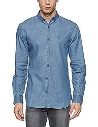 French Connection Mens Slim Fit Casual Shirt (52HKK_Light Blue_XXL)