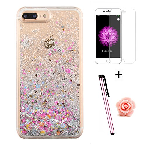 TOYYM - Cover per iPhone 7 Plus 5,5, trasparente con brillantini e liquido, include 1 pellicola protettiva e 1 pennino capacitivo, plastica, Color 27#, Apple iPhone 7 Plus 5.5 Color 10#