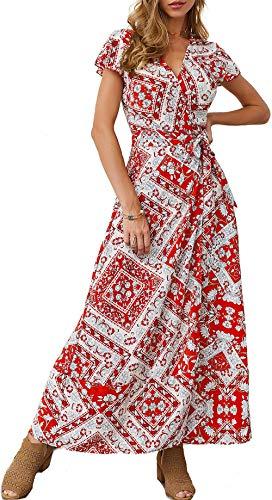 Mujeres Sexy Cuello En V Vestidos Bohemio Wrap Floral Impreso Vintage Estilo étnico de Alta Split Beach Maxi Vestido Rojo M