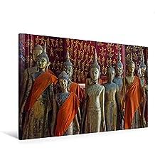 Calvendo Premium Textil-Leinwand 120 cm x 80 cm Quer, Stimmungsvoller Tempelbesuch in Laos | Wandbild, Bild auf Keilrahmen, Fertigbild auf Echter Leinwand. im Tempel Wat Xieng Thong Orte Orte