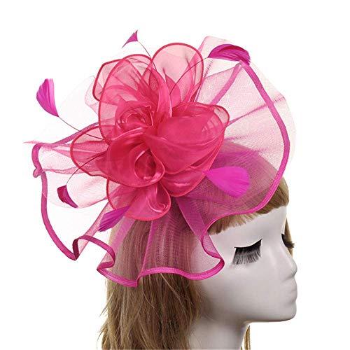 Styling Zubehör Fascinators Hut Haarspange Feder Kopfbedeckungen Hochzeit Braut 1920er Jahre Kopfbedeckung Brautmütze für Mädchen und Frauen (Farbe: Rot) (Lass Die Kirche Die Kirche Sein)