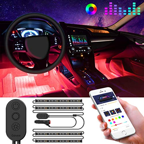 LED Innenbeleuchtung Auto, Govee Auto LED Strip Upgrade Zwei-Linien-Design Wasserdicht 4pcs 48 LED Beleuchtung APP Steuerbare mehrfarbig Musik Innenbeleuchtung mit Zigarettenanzünder, 12V -