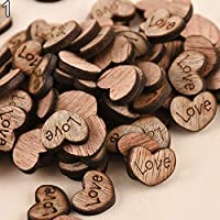 Rustic Wooden 100pcs Wood Love Heart Stars Wedding Table Scatter Decoration Crafts - #1 qingsb