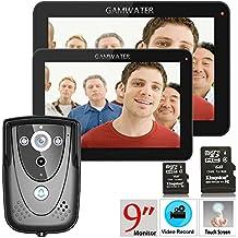 """GAMWATER 9 """" con cable 2 pcs monitore DVR pantalla táctil en color de video Puerta Teléfono con cámara IR PIR registro de comunicación de sistema con 8 G tarjeta SD"""