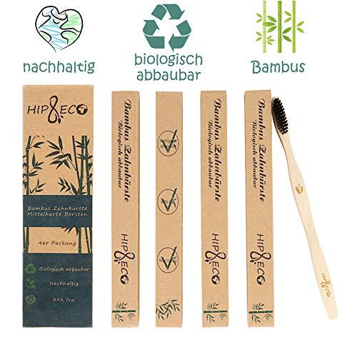 Bambus Zahnbürsten | 4er Pack | Nachhaltig | Biologisch abbaubar | BPA frei | Funkionelle Borsten