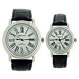 Montine Geschenkset Sie & Er Uhren mit schwarzem echtem Lederband MOX3564