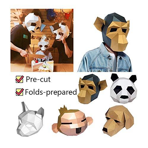 3D Tiermaske - 2019 Neu Handgemachte DIY Freischnitt 3D Tiermaske - 3D Stereo Tier Maske Prom Party Kopfbedeckung Papiermodell - für Halloween, Thanksgiving, Weihnachten, Party (B)
