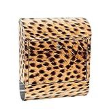 liwwing Briefkasten Edelstahl mit Motiv und Zeitungsfach, Zeitungsrolle als XXL Design Wandbriefkasten | Leopard Tier Braun Natur | no. 0181