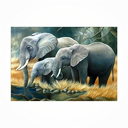 5D Diamond Painting Cross Stitch Kits Set Diamond Embroidery Diamond Mosaic DIY Embroidery Painting Elephant Famaily