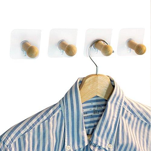 amyove 4/8no-nail Holz Klebehaken Traceless Hat Kleiderbügel ohne Bohren Loch