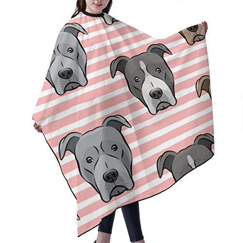 Barber Cape,All The Pit Bulls Pink Stripes LAD Salon Polyester Cape Haircut Apron 55