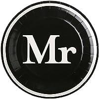 """'Platos para fiestas/Cartón de platos/desechables de/desechables de vajilla boda """"Mr. En Blanco Y Negro/mesa decorativa para boda/fiesta/JGA de despedida de soltero/junggesellen/Hen de fiesta/Decoración de Boda/Novio"""