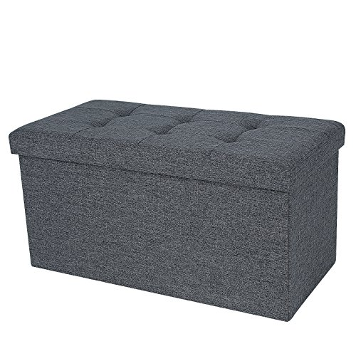 songmics-linen-fabric-folding-storage-ottoman-bench-versatile-space-saving-dark-gray-299-x-15-x-15-l