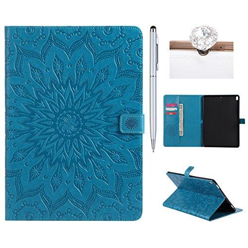 Preisvergleich Produktbild Felfy Ledertasche für iPad Pro 10.5,iPad Pro 10.5 Hülle Leder,iPad Pro 10.5 Case Blau Leder Elegante Retro Handyhülle Tasche Flip Cover Wallet Sonnenblume Prägung Muster Strap Brieftasche,Sonnenblume