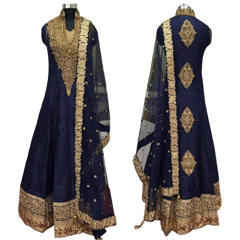 Caffoy Cloth Company Women Silk Anarkali Suit(Hope 37 Blue Free Size)