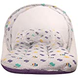 Littly Dual Color Fruit Print Bedding Set with Foldable Mattress, Pillow and Zip Closure Mosquito Net (12-18 Months, Purple)
